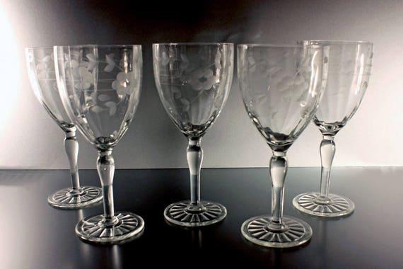 Crystal Etched Water Goblets, Wine Glasses, Cut Crystal, Set of 5, Barware, Wedding Stemware