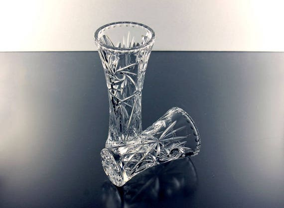 Crystal Flower Vase, Lenox, Heavy Pressed Glass, Clear Glass, Star and Fan Design, Giftware, Set of 2