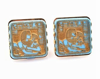 Egyptian Pharaoh cufflinks, hiroglyphics cufflinks, turquoise cufflinks, King Tut cufflinks, wedding cufflinks, large gold square cufflinks