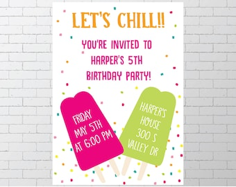 Summer Birthday Party / Printable Invitation /End of Summer Party/ Lets Chill / Boy Girl / Pink and Green /Digital Download Invite