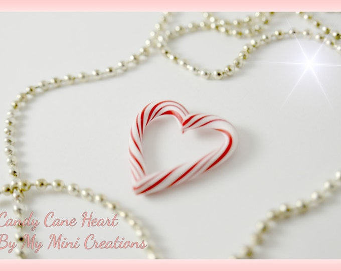Candy Cane Heart Necklace, Polymer Clay, Christmas Charm, Miniature Food, Miniature Food Jewelry