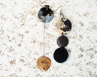oversized earrings asymmetric leather earrings made of vegetable tanned leather earrings of recycled and found materials