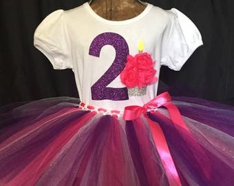 Girl's second birthday outfit, 2nd birthday shirt, birthday outfit for 2 year old girl, turning two tutu, girl's second birthday,