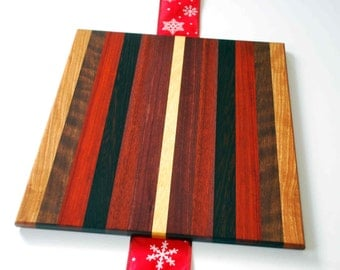 Curly and Exotic Naturally Colored Cutting Board, Mixed Rare Hardwoods,  Butcher Block  A splash of color for the home.