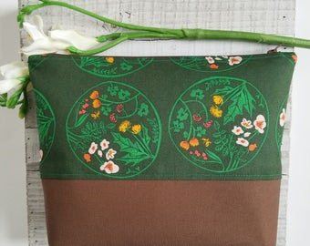 "The ""Haven"" original zipper pouch, makeup bag, diaper bag, floral zipper pouch, Tiger Lily, dark green"