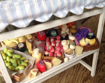 Dollhouse miniature fruits and cheeses  stall,handmade miniature,dollhouse food, one inch scale ,miniature stall