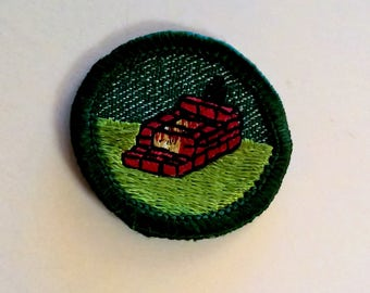 Vintage Girl Scout Backyard Cooking Patch Badge Sash Awards Girl Scouts of America Uniform Accessories Parts