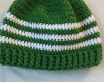 Green beanie hat with white stripes
