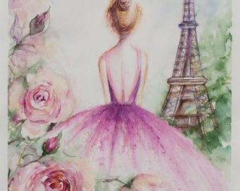 Eiffel Tower Paris, Eiffel Tower Decor, Original Watercolor Painting, Paris Watercolor, romantic gifts, Art bride gift, Fashion Illustration