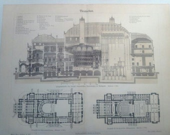 "Lithography, ""Theater building""."