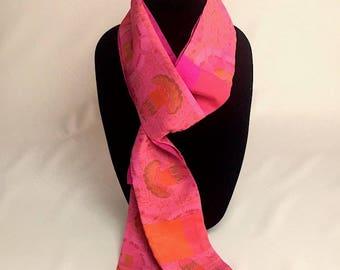 Thai Silk Pieced Scarf in Pink/Orange/Fuschia