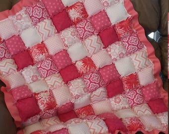 Pink floor puff quilt