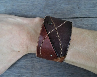 Brown Tan Patch Studded Stitched Leather Upcycled Cuff Bracelet