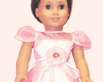 "Pale Pink Organza A-Line Long Party Dress for 18"" American Girl Doll"