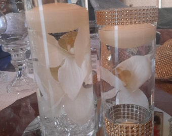 Bling Floating Candle Cylinder Ivory Set