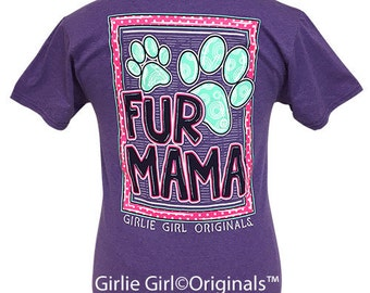 Girlie Girl Originals Fur Mama Retro Heather Purple Short Sleeve T-Shirt