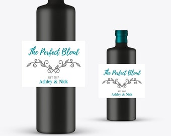 Perfect Blend Wine Bottle Labels | Personalized Standard or Mini Wine Bottle Labels | Wedding | Engagement | Wine Bottle Labels