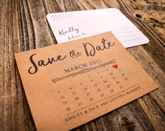 Double Sided Rustic Calendar Save the Date Postcard | White or Kraft Rustic Save the Date Cards | Color & Edge Styling Available !