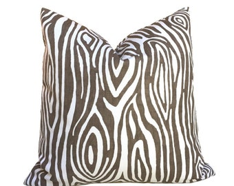 "Faux Bois Wood Grain Lines Brown White Cotton Print Pillow Cover, Fits 12x18 12x24 14x20 16x26 16"" 18"" 20"" 22"" 24"" Cushion Inserts"