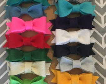 Felt Bow Hair Clips LOTS OF COLORS!