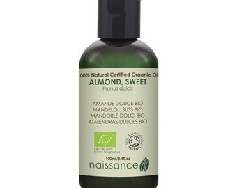 Naissance Sweet Almond Organic Carrier Oil Massage Therapy, Skincare & Hair Conditioning