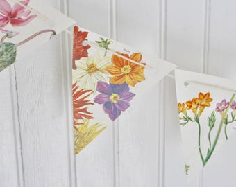 Botanical Floral Flowers Paper Bunting Banner Pennant Garland