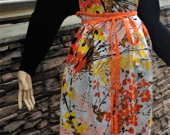 1960s Orange Floral Apron Tunic