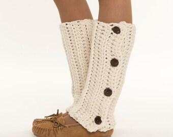 Ready To Ship! SALE / Ribbed Crochet Button Wool Leg Warmers, Crocheted Handmade Leggings, Leg Warmers, Women's Warm, Cozy Winter Accessory