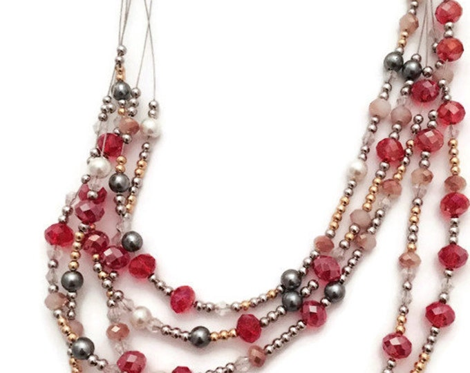 Multi Strand Beaded Necklace, Red and Gold Beaded Necklace, Red, White, Gold, Silver, Grey & Clear Beads, Bib Collar Beaded Necklace