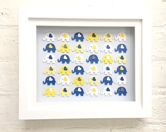 Blue and yellow elephant nursery decor, Paper elephant art, framed elephant baby shower gifts, elephant decor, elephant baby shower gift