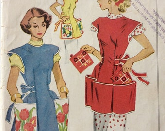 McCall's 1713 vintage 1950's misses cobbler apron & pot holder sewing pattern w/transfer size small