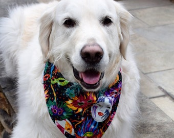 Mardi Gras Pet Bandana || Personalized Dog Scarf || Reversible with Black White Harlequin || Custom Gift by Three Spoiled Dogs