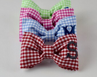 Red Gingham Monogram Dog Bow Tie ||  Personalized Pet Bow || Custom Puppy Gift by Three Spoiled Dogs
