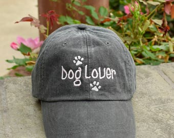 Dog Lover Baseball Cap || Paw Prints Rescue Dogs Rock Hat || Dog Mom Monogram Gift by Three Spoiled Dogs Made in USA