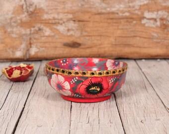 Wooden bowl - Vintage wooden bowl - Khokhloma bowl - Russian folk art - Kitchen utensil - Hand painted wooden bowl - Soviet vintage