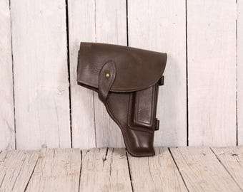 Vintage gun leather holster, Pistol holster for Makarov, Belt holster, Police holster, Western gun holster, Gun pistol case, Cowboy wear