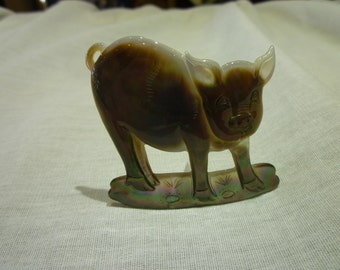 D60 Mother of Pearl Carved Pig.