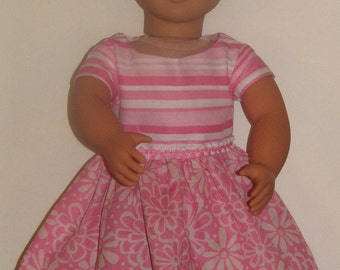 "Pink stripe and flower dress for 18"" Dolls. Made in USA fits American Girl, Our Generation Dolls"