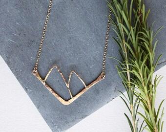 Donner Necklace, Mountain Necklace, Chevron Necklace, Mountain Range Necklace