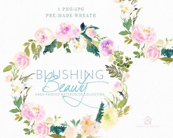 Watercolour Flower Clip Art -  Handmade, watercolour clipart, digital download, instant download - Blushing Beauty Wreath