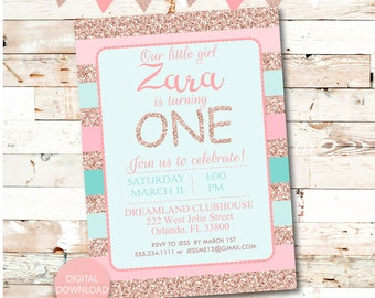 Rose Gold Invitation Etsy - Birthday invitation gold coast