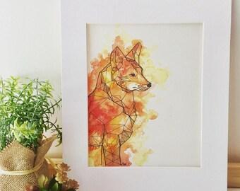 Watercolor Geometric Fox Print