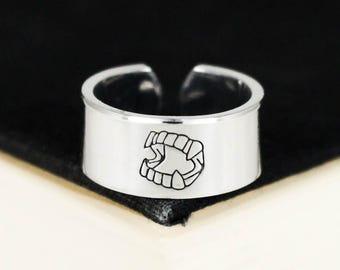 Plastic Vampire Teeth Ring - Halloween - Vampire Aluminum Cuff Ring