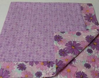 Self binding flannel baby blanket, baby blanket girl, purple baby blanket, flower baby blanket, butterfly baby blanket