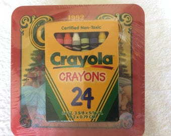 Vintage Crayola tin box with crayons SALE, collectible never opened 1992 crayola box crayons, Crayola limited edition holiday tin,  Crayons