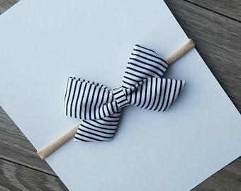 fabric bow, classic fabric bow, blue striped bow, baby headband, navy blue bow