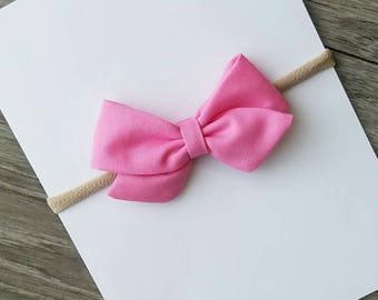 bubblegum pink bow, pink fabric bow, bubblegum pink fabric bow, sailor bow