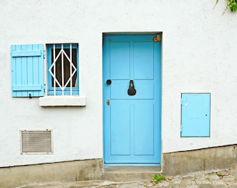 Door Photography Print, Light Blue, Door Picture, Wall Art, France Photo, Travel Art Print, Door Photograph, Horizontal Art, Bedroom Decor