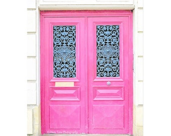 Door Photography, Pink Door Photograph, Picture, Paris Photography Wall Art Print French Wall Decor Girls Room Decor Architecture Art