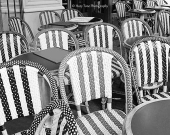 Kitchen Wall Art, Paris Cafe Photography Print, Black White Art Print, French Cafe Chairs, Stripes, Paris Photo, Kitchen Wall Decor, 11 x 14